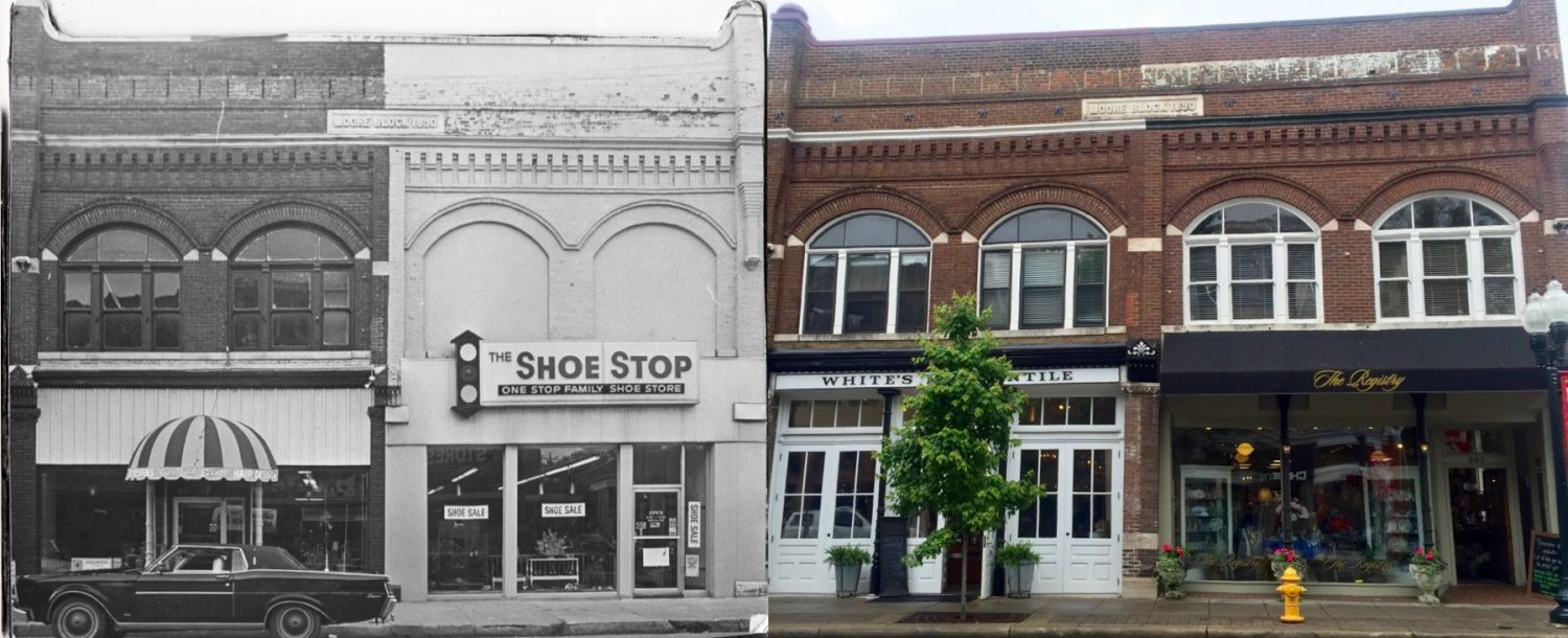 The photo on the left was taken in the 1970s of the Moore Block, located on the corner of Main Street + Fourth Avenue. #thisplacematters